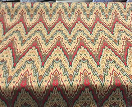 WILLIAMSBURG BRAY FLAME STITCH CINNABAR 100% LINEN Multipurpose FABRIC