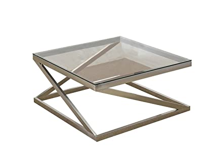 Acme Furniture 81140 Ollie Coffee Table, Brushed Nickel/Clear Glass