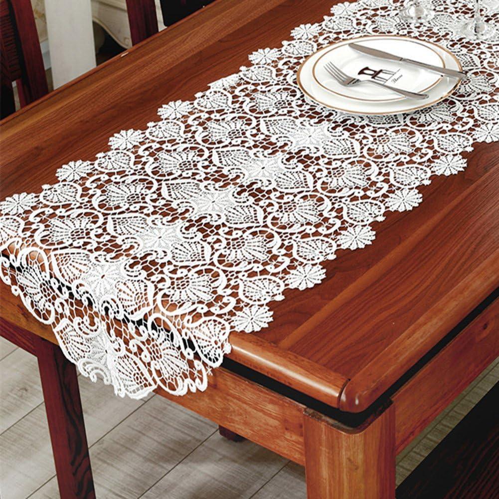TaiXiuHome blanc floral broderie dentelle de style europ/éen Chemin de table avec translucide gaze tissu pour d/écorer les maisons les h/ôtels les mariages et No/ël 50 x 150cm