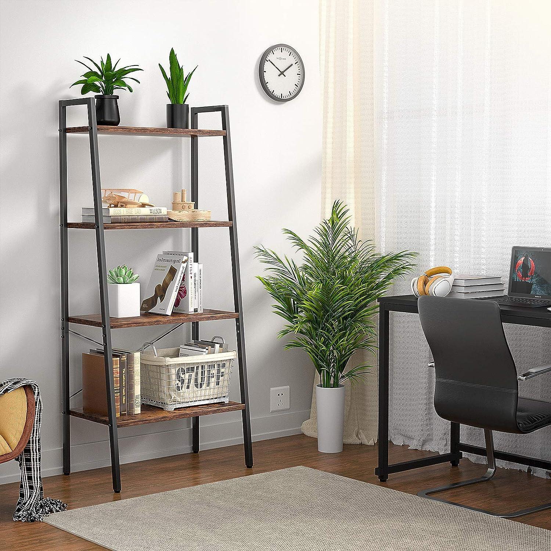 Ladder Shelf, 4-Tier Ladder Bookshelf, Rustic Storage Shelves for Living Room, Wood Shelving Unit with Steel Frame, Industrial Bookcase Display Shelf for Bedroom, Office