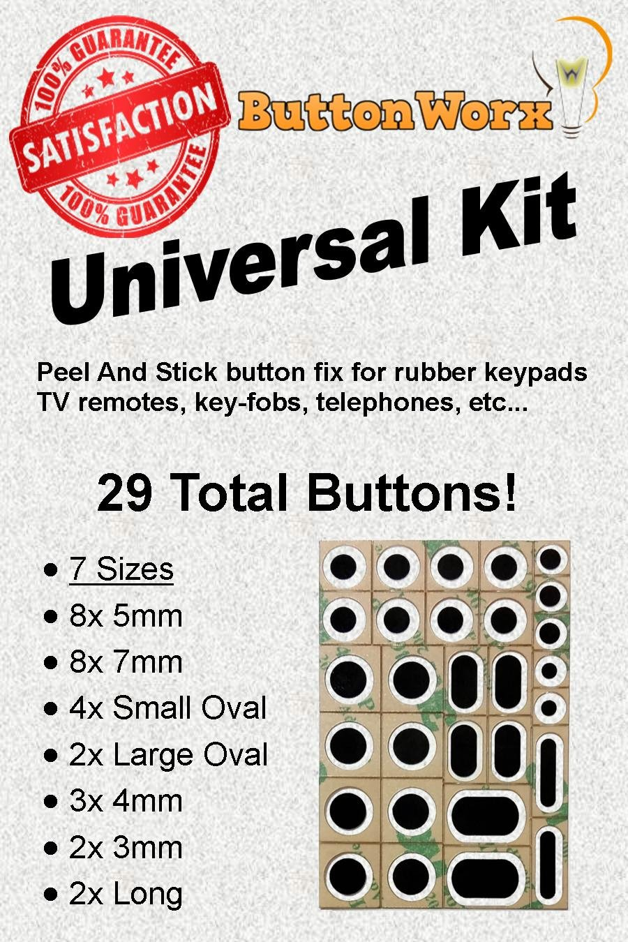 ButtonWorx TV Remote Button Repair kit P1Repair BW-Universal1