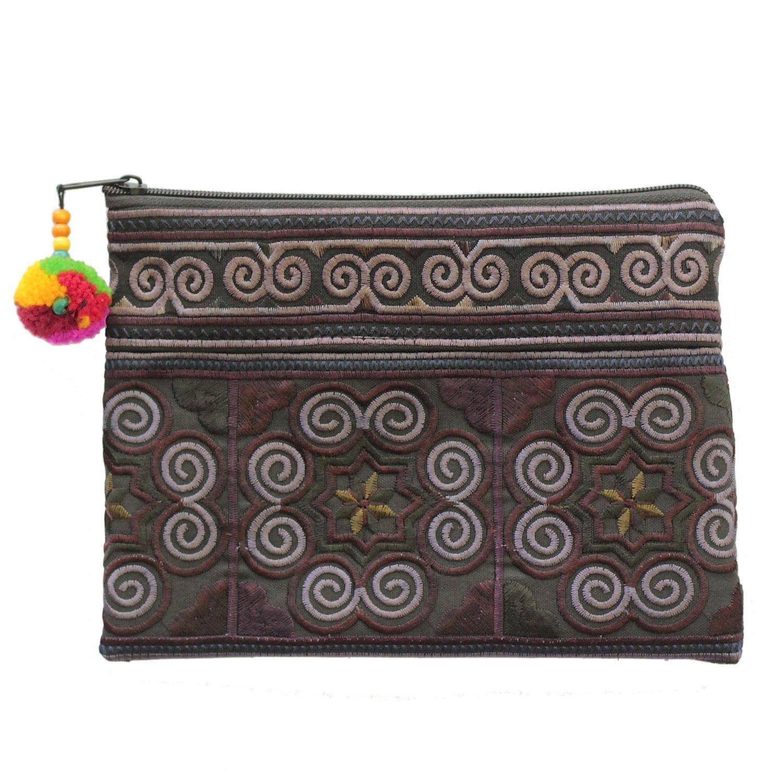 Sabai Jai Handmade Cosmetic Makeup Pen Coin Pouch Embroidered Boho Clutch Handbag Purse (Black) by Sabai Jai (Image #2)
