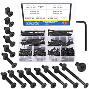 Glarks 141Pcs M6x15/ 20/25/ 30/35/ 40/45/ 50/55/ 60/65/ 70/75/ 80mm Baby Bed Crib Screws Hardware Replacement Kit, Black Hex Socket Cap Bolts Screws and Nuts Assortment Kit with a Allen Wrench
