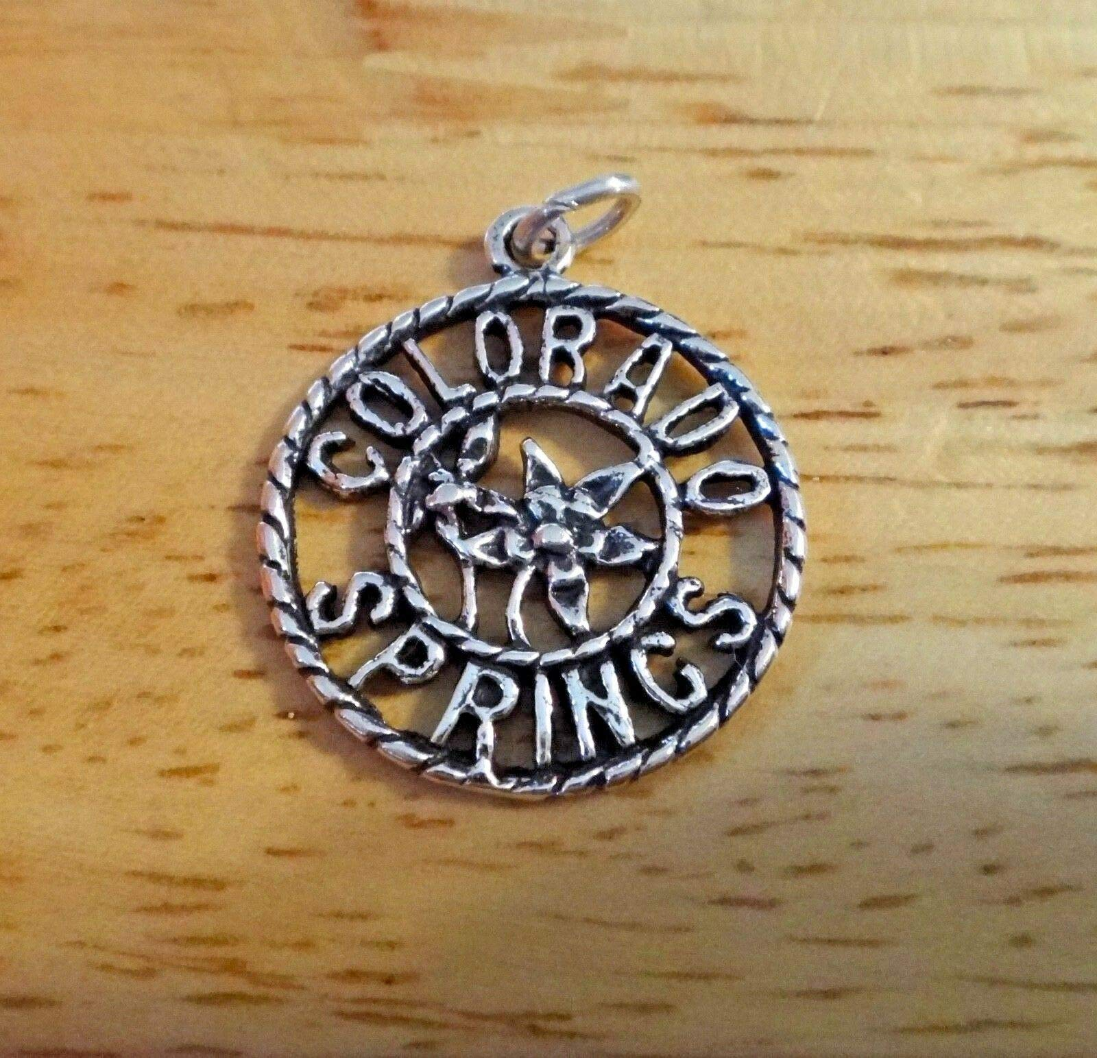 Sterling Silver 20mm says Colorado Springs Columbine Charm