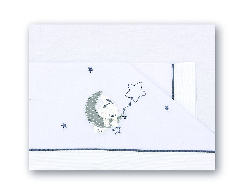 Sabanas 100% Algodón CUNA 60x120 - Luna (bajera+encimera+funda almohada) PIRULOS Cien Estrellas