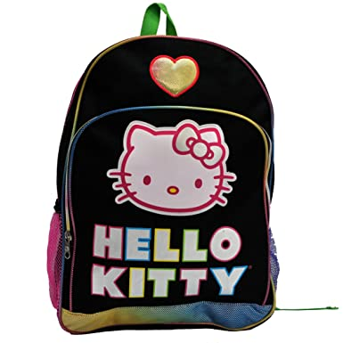 133d02a3200e Image Unavailable. Image not available for. Color  Sanrio Hello Kitty Black  w  Heart 16 quot  School Backpack ...