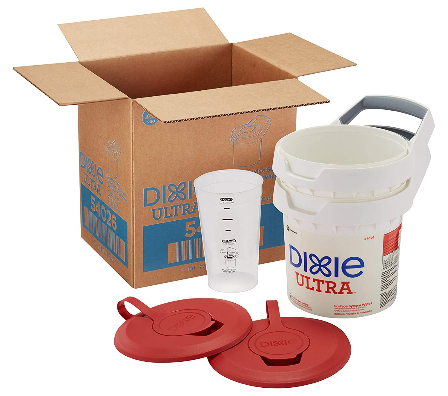 Dixie Ultra Surface System Wiper Bucket for Food Service, 54026, 2 Buckets With Lids Per Case