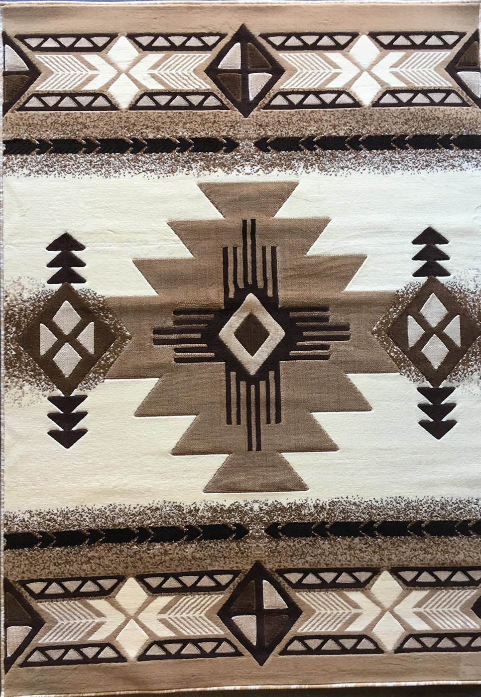 Southwest Native American Door Mat Area Rug Ivory Design#C318 (2ft.x3ft.4in.) Persian Weavers