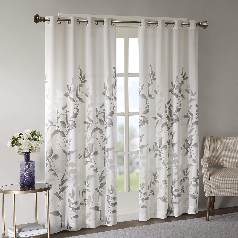 Madison Park Botanical Sheer Curtains for Bedroom, Modern Contemporary  Linen Grommet Living Room, Nature Summer Fashion Panel, 6x6, Leaves Grey