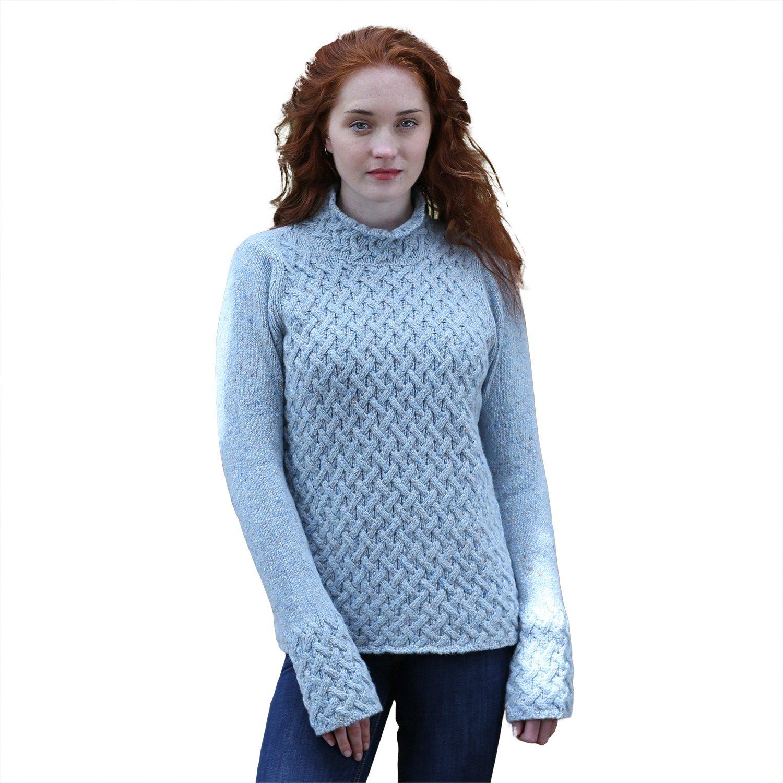 Ladies 100% Irish Merino Cashmere Wool Sweater with Trellis Stitching by The Irish Store - Irish Gifts from Ireland
