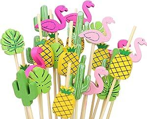 Tropical Cocktail Toothpicks, set of 200 total pieces assorted Flamingo, Cactus, Pineapple, Banana Leaf Hawaiian Lua Set of Party Pick, 4.7