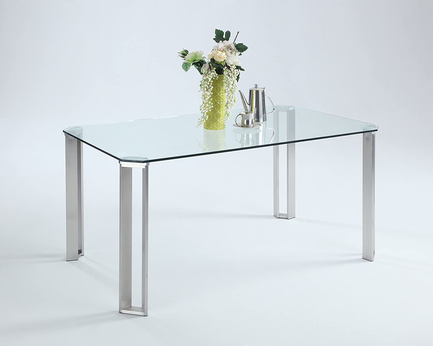 Milan Rhiannon Rectangle Cut-Corner Clear-Tempered Glass Dining Table