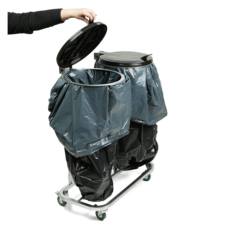 a89dd1cb244a Mind Reader 2GARBIN-BLK Duo Portable Trash Bag and Garbage Bag Holder with  Lids for Outdoor / Indoor Trash Can, Black