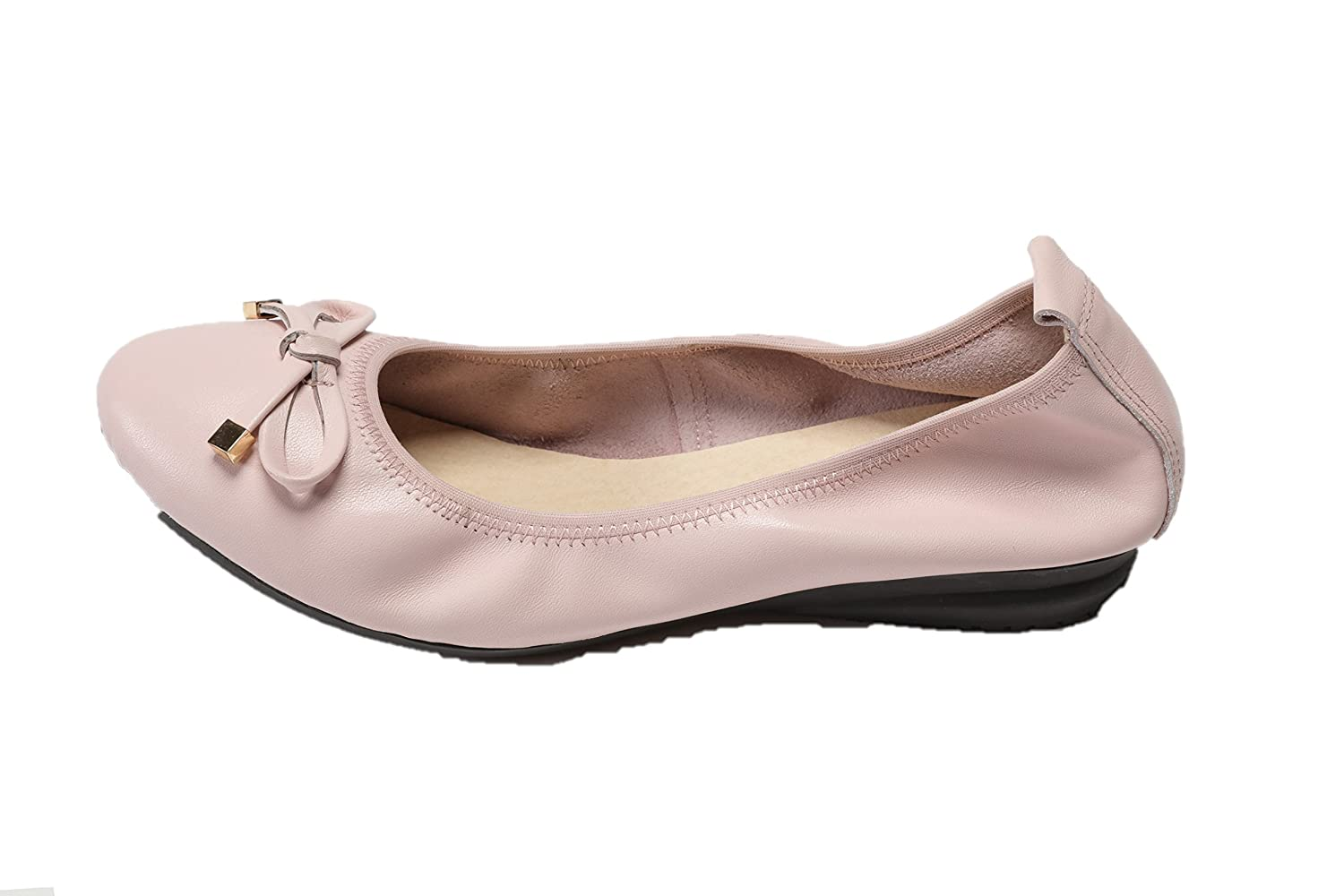 Ballerina Flat Bow Style Leather Pumps Shoe for Woman B07CZMBY1F 7 B(M) US|Pale Pink