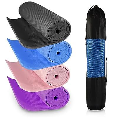 épais en mousse enroulable Tapis de yoga avec sac de transport pour l'entraînement, exercices abdominaux, DE gymnastique, Pilates, Traction, camping, Voyage | antidérapant 173x 61cm