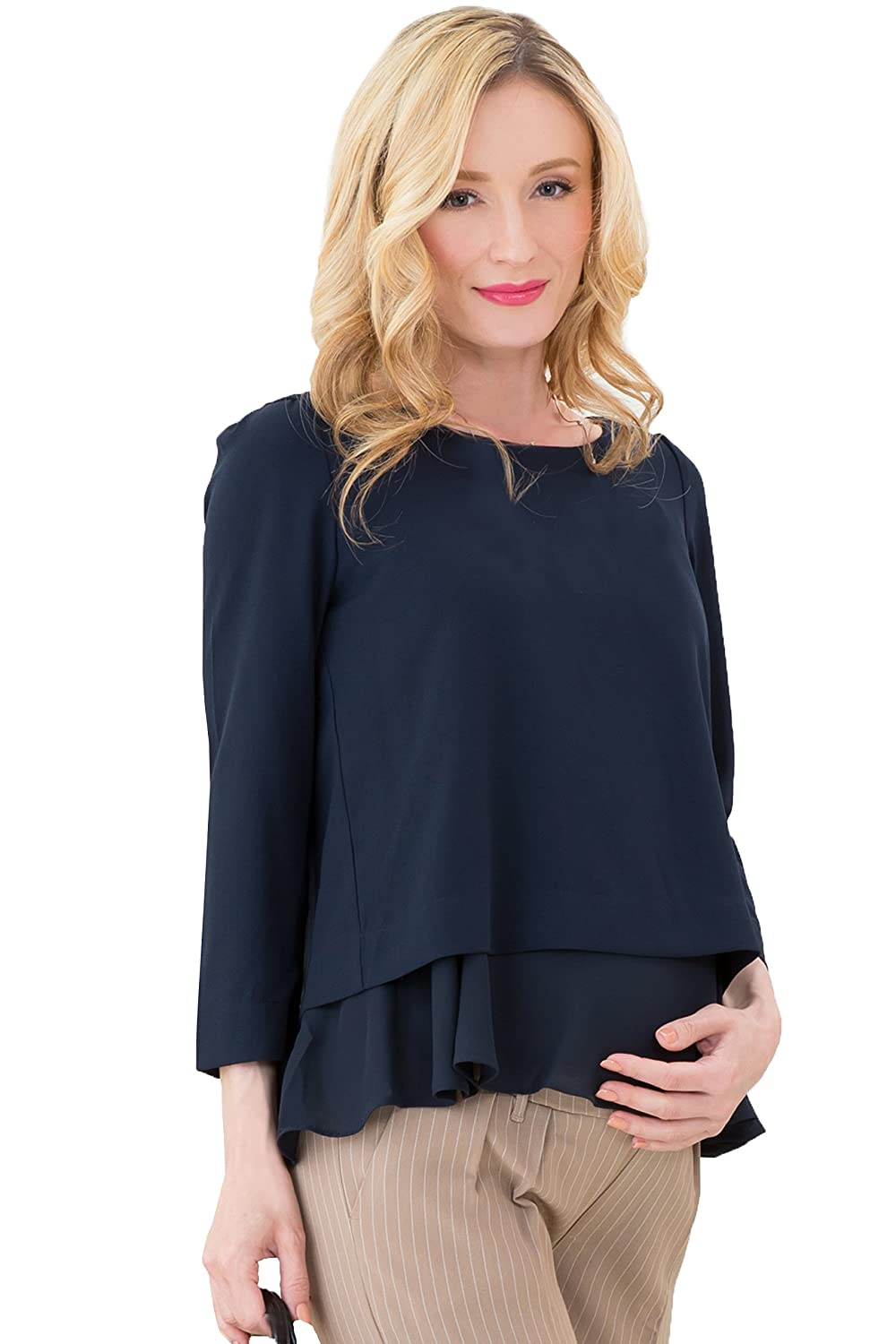 Sweet Mommy Maternity and Nursing Layered Georgette Top Office Blouse with Chiffon Hem Sweet Mommy Co. Ltd. st5116