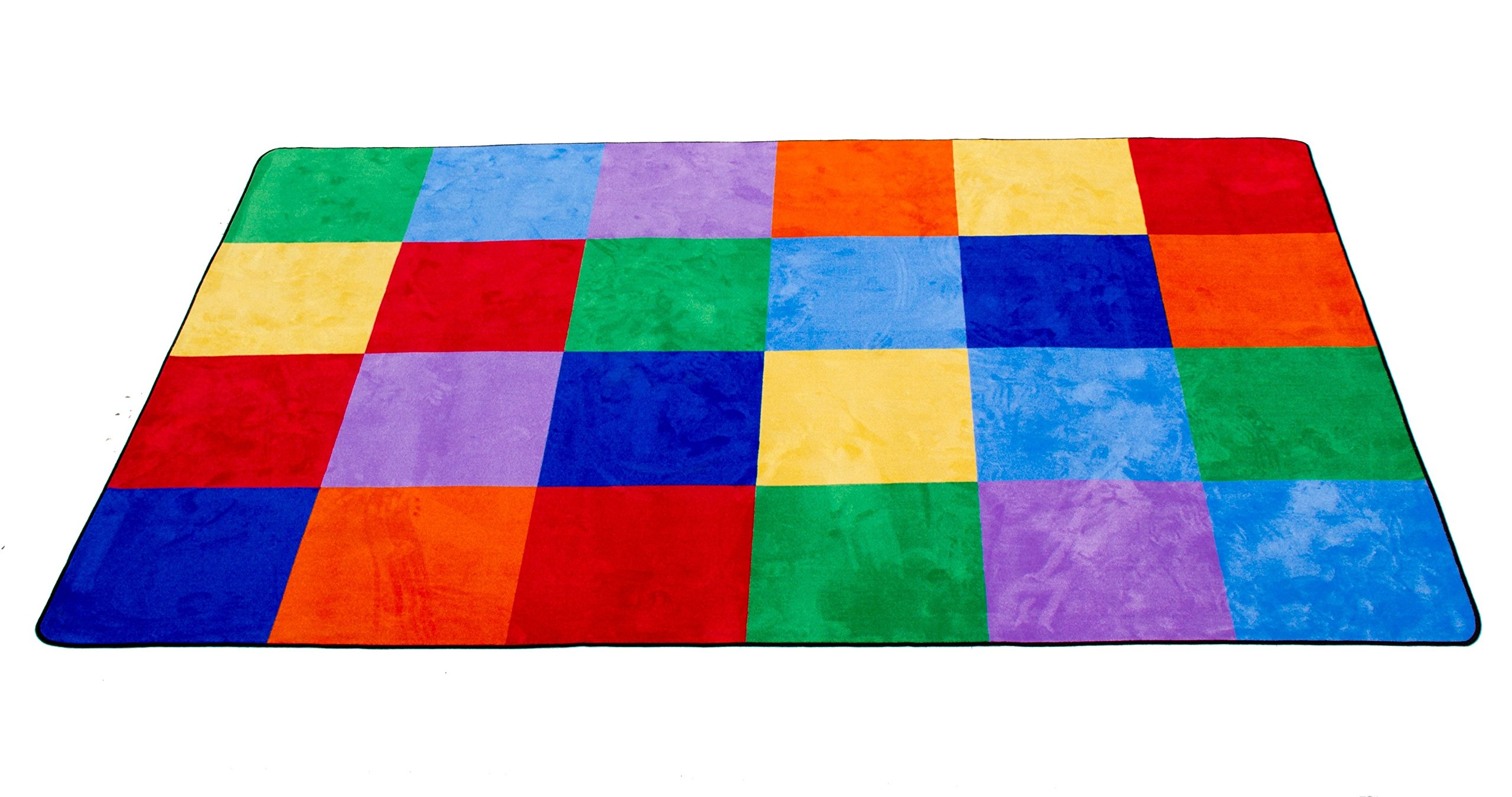 Learning Carpets Colorful Grid Rug, Small/5'10'' x 8'5''