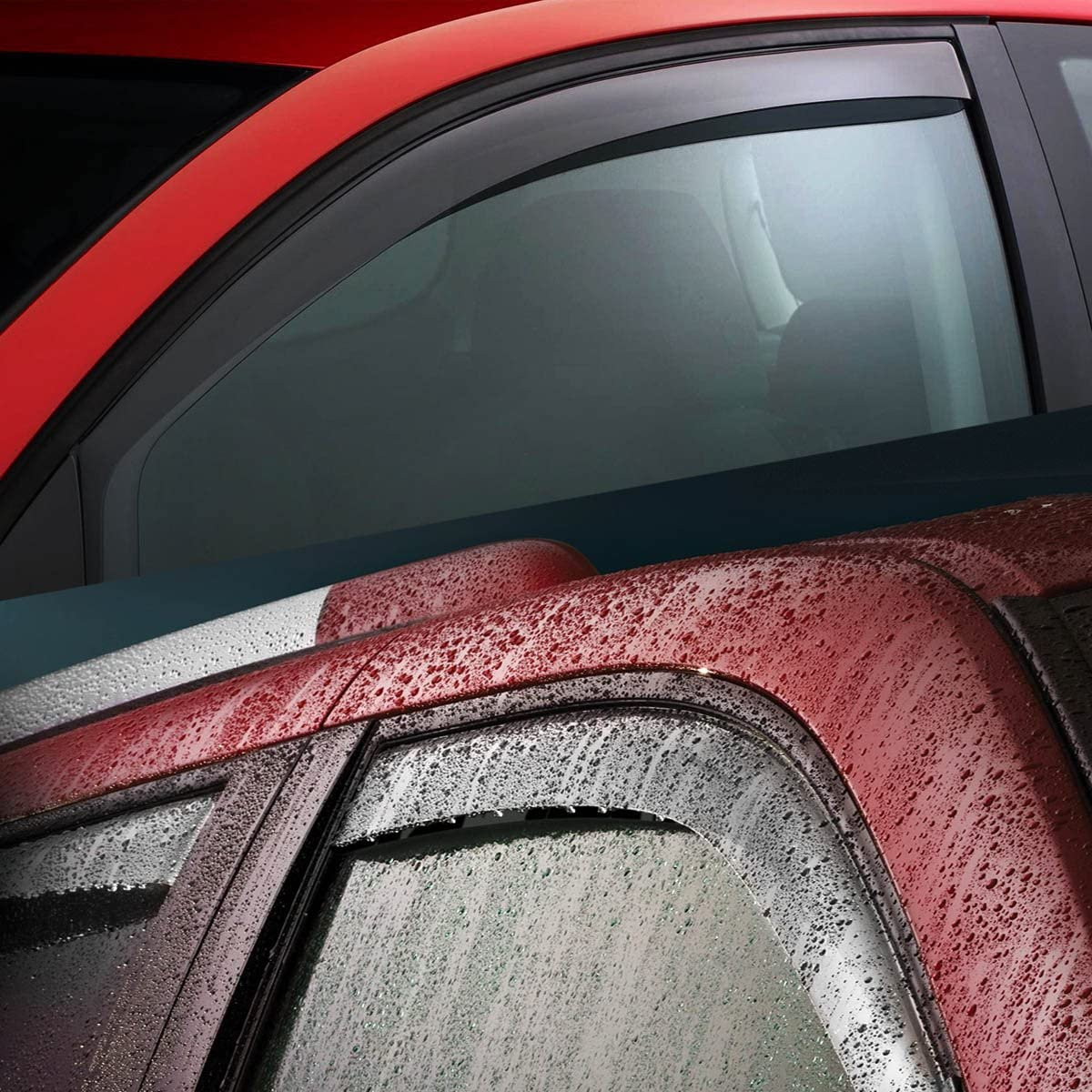 4pcs DNA MOTORING WVS-238 Dark Smoke Vent Window Visor Deflector Rain//Sun Guard