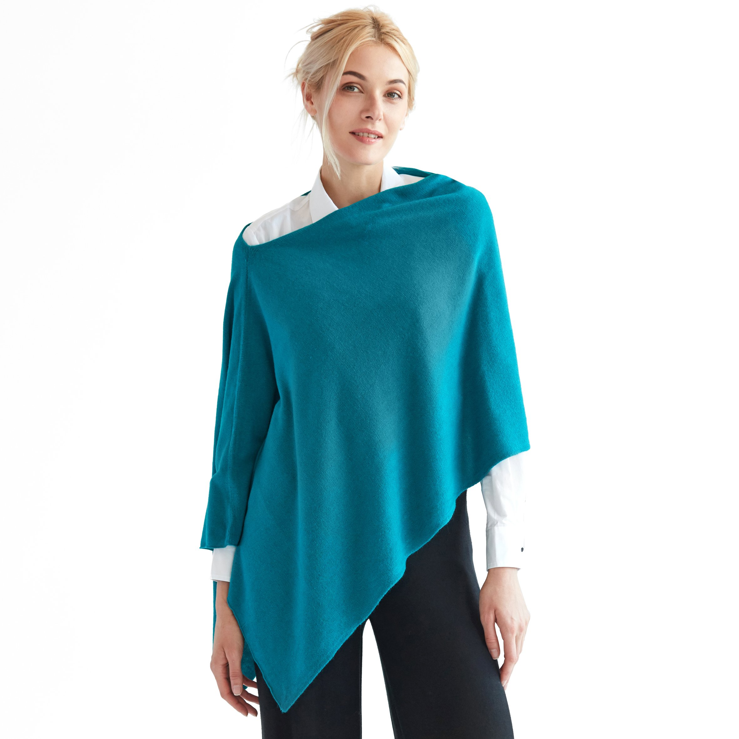 Sunny Tag Faux Cashmere Acrylic 3-in-One Knitted Poncho Topper Wrap Scarf Sweater Cardigan, Machine Washable with FREE Linen Pouch, Teal Blue, One Size Fits Most.