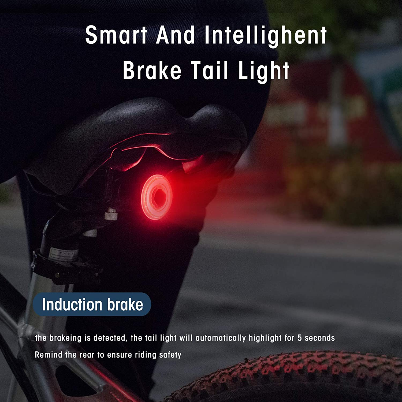 MEROCA MTB Bicycle Rear Light Smart Brake Sensing Waterproof LED USB Charger US
