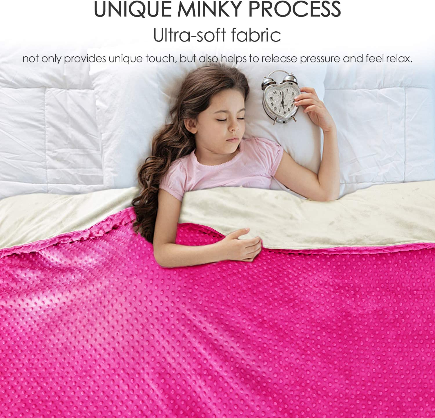 Anjee Cooling 5 lbs Weighted Blankets for Girls with Ultra-Soft Minky Cover, Heavy Blanket Help Deep Sleep, 36 x 48 Inches, Cotton/Minky, Grey/Pink