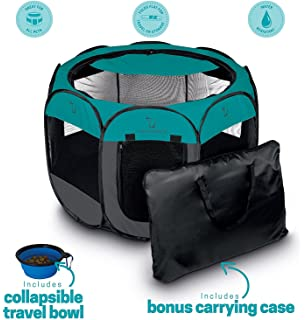 Unleashed Pets Portable Foldable Pet Playpen + Carrying Case U0026 Collapsible  Travel Bowl | Indoor /