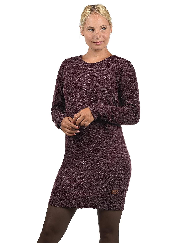 TALLA M. BlendShe Natti Vestido de Punto Vestidos Casuales para Mujer con Cuello Redondo Wine Yard (20068)