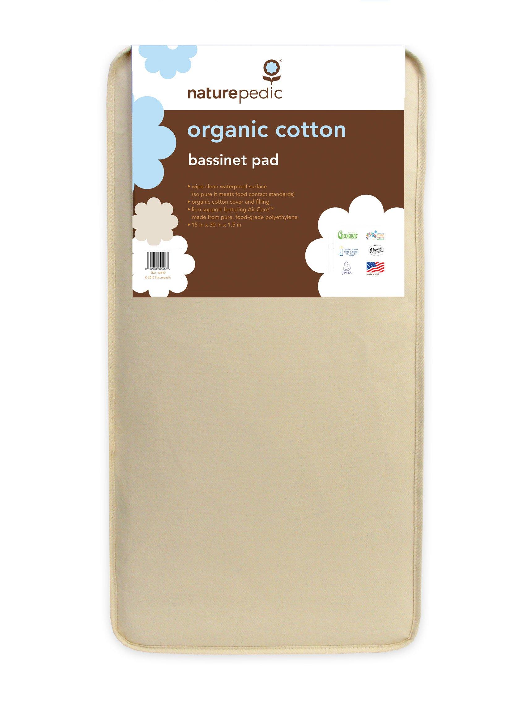 Naturepedic Organic Cotton Bassinet Pad (Rectangular 11''x29'')