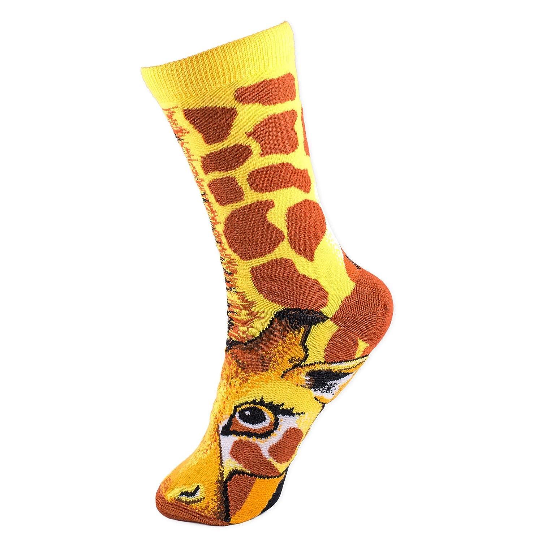 Giraffe Sock Puppet Socks Women's Size 6 -10 Animal Den For Bare Feet 20167