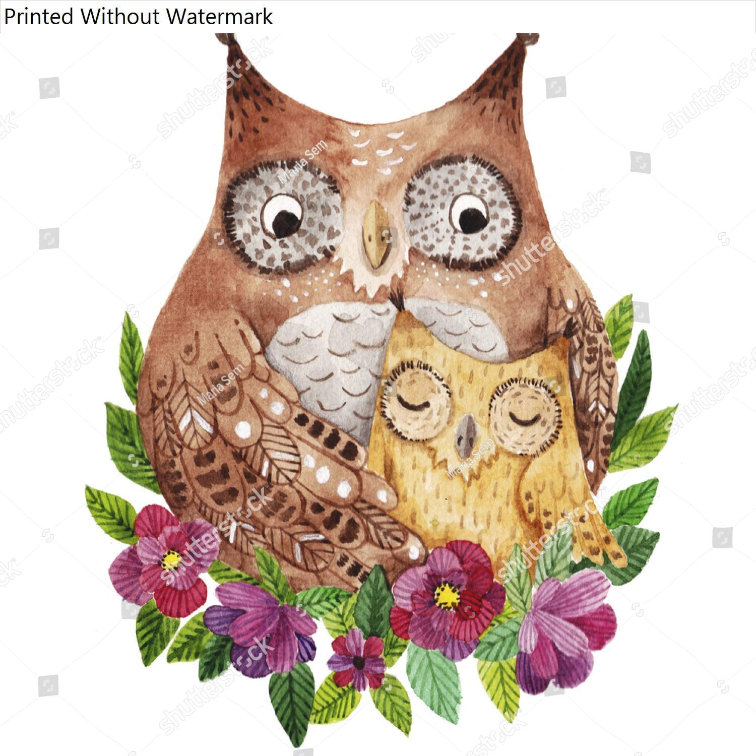 KwikMedia Poster of Cute Mothers Day Greeting Card with Owls Watercolor Illustration