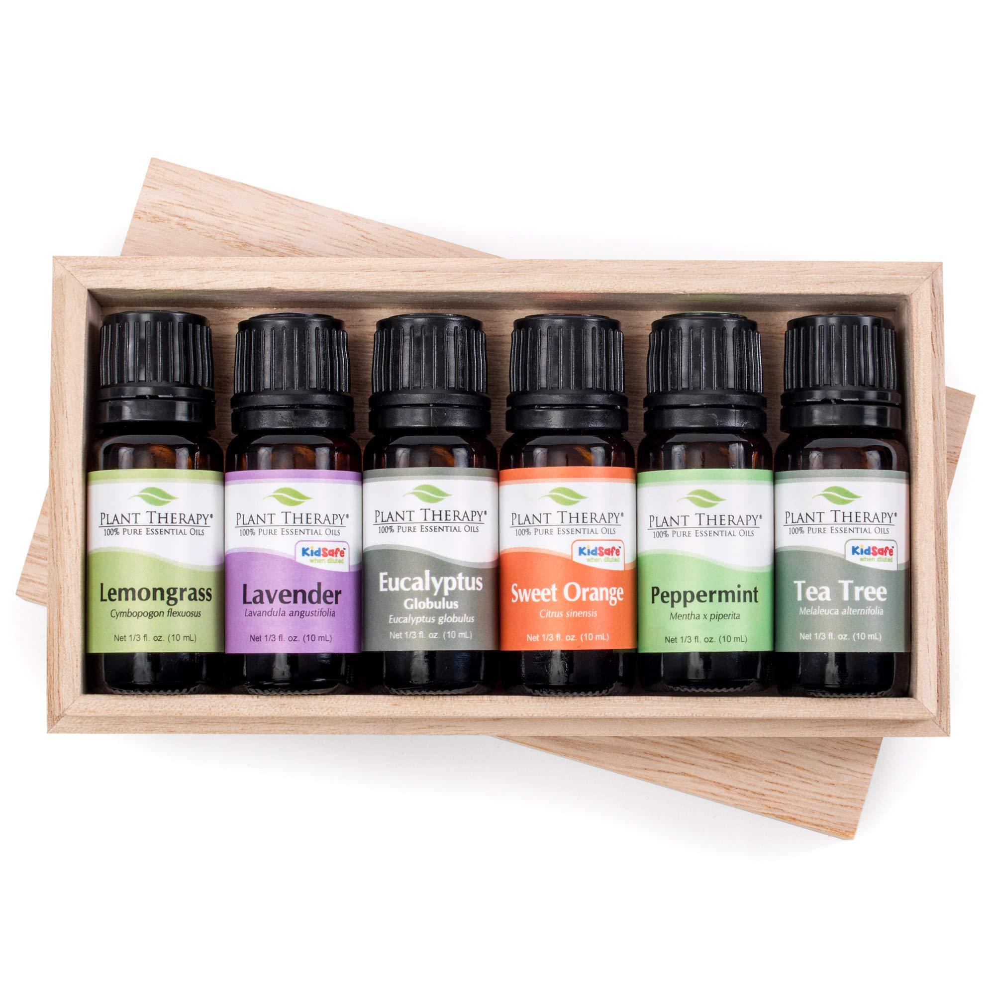 Plant Therapy Breathe Easy Essential Oil Set - Lavender, Eucalyptus, Peppermint, Lemongrass, Orange Sweet, Tea Tree, In A Wooden Box 100% Pure, Aromatherapy, Therapeutic Grade 10 mL (1/3 oz)