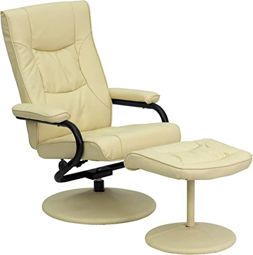 Flash Furniture Contemporary Multi-Position Recliner and Ottoman with Wrapped Base in Cream Leather