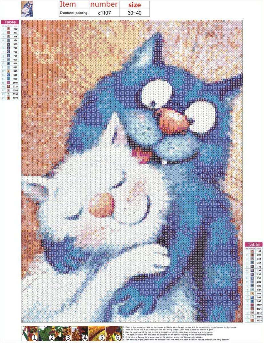 DIY 5D Diamond Painting Full Round Drill Kits Rhinestone Picture Art Craft for Home Wall Decor 12x16In Blue Cat and White Cat