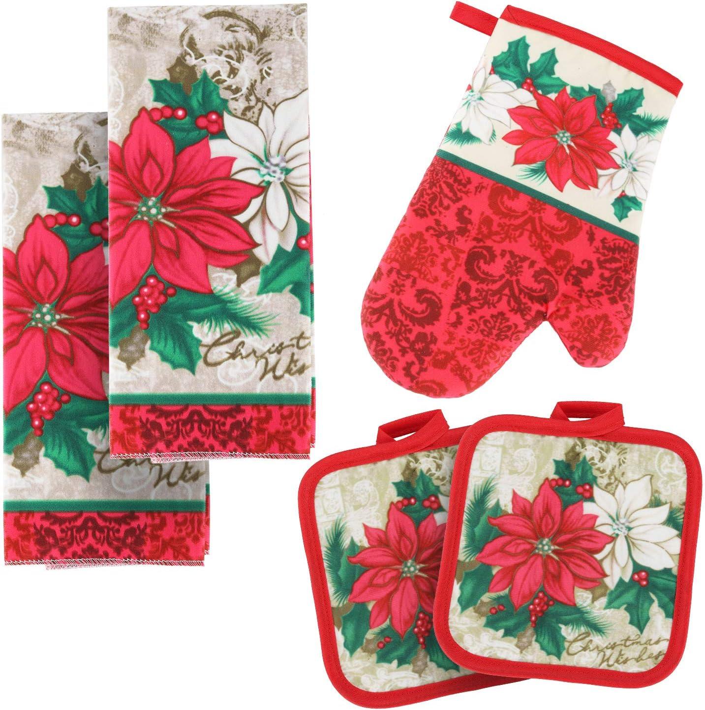 BONTHEE Kitchen Linen Set 2 Kitchen Towels 2 Pot Holders 1 Oven Mitt for Baking Cooking Kitchen Décor – Poinsettia