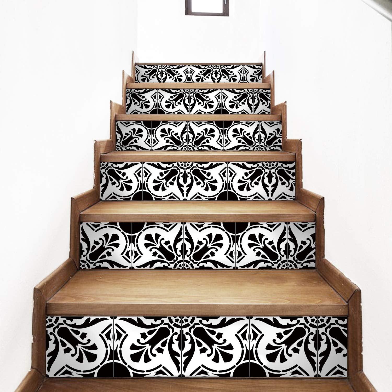 AMAZING WALL AmazingWall Black White Arabic Style Stair Sticker Tile Decal Furniture Mural Decor Wallpaper 7.1x39.4 6PCS/Set