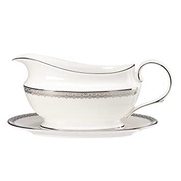 Amazon.com: Lenox Lace Couture Sauce Boat and Stand, White: Gravy ...