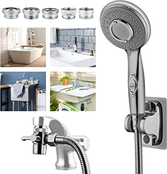 Push-On Tap Shower Bath Sink Head Hose Portable Adapter Attachments WHITE