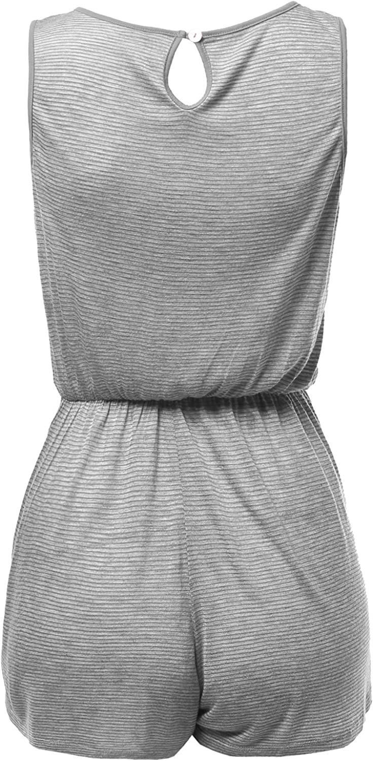 Awesome21 Womens Pocket Color Contrast Stripe Sleeveless Rompers