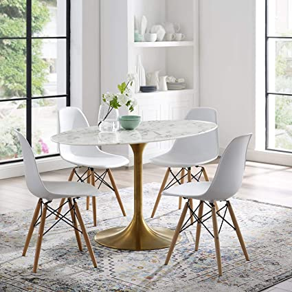 Fantastic Modway Lippa 54 Mid Century Modern Kitchen And Dining Table With Oval Artificial Marble Top And Gold Pedestal Base Theyellowbook Wood Chair Design Ideas Theyellowbookinfo