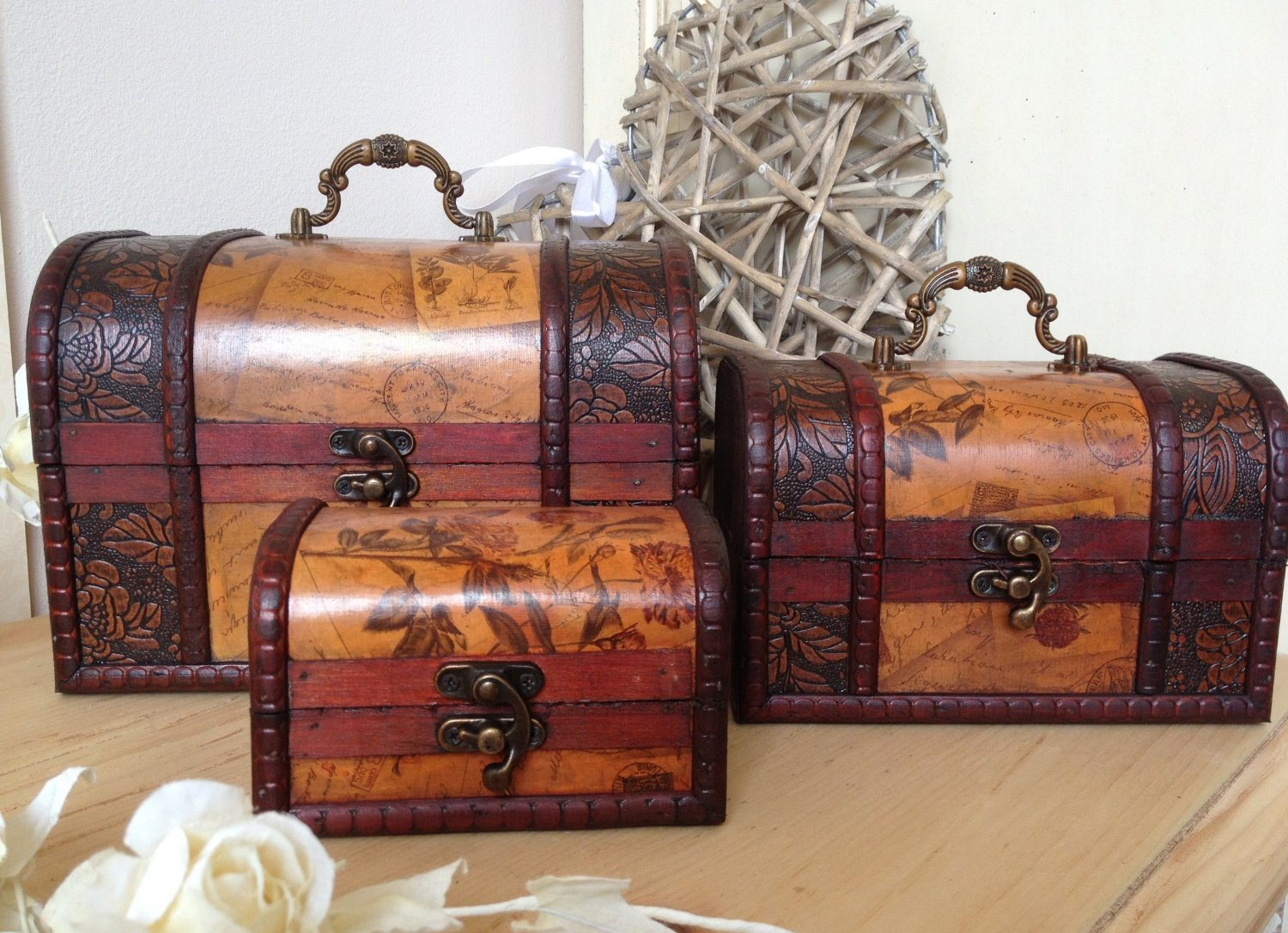 Wooden Colonial Style Trunk Treasure Chest Vintage Postcard Script Storage Box