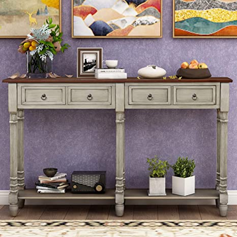 Amazon Com 58 Inch Long Storage Console Table Julyfox Mid Century Slim Hallway Sofa Table With 2 Large Storage Drawers Shelf Rustic And Victorian Style Entryway Table For Living Room Office Bar Antique Gray Kitchen