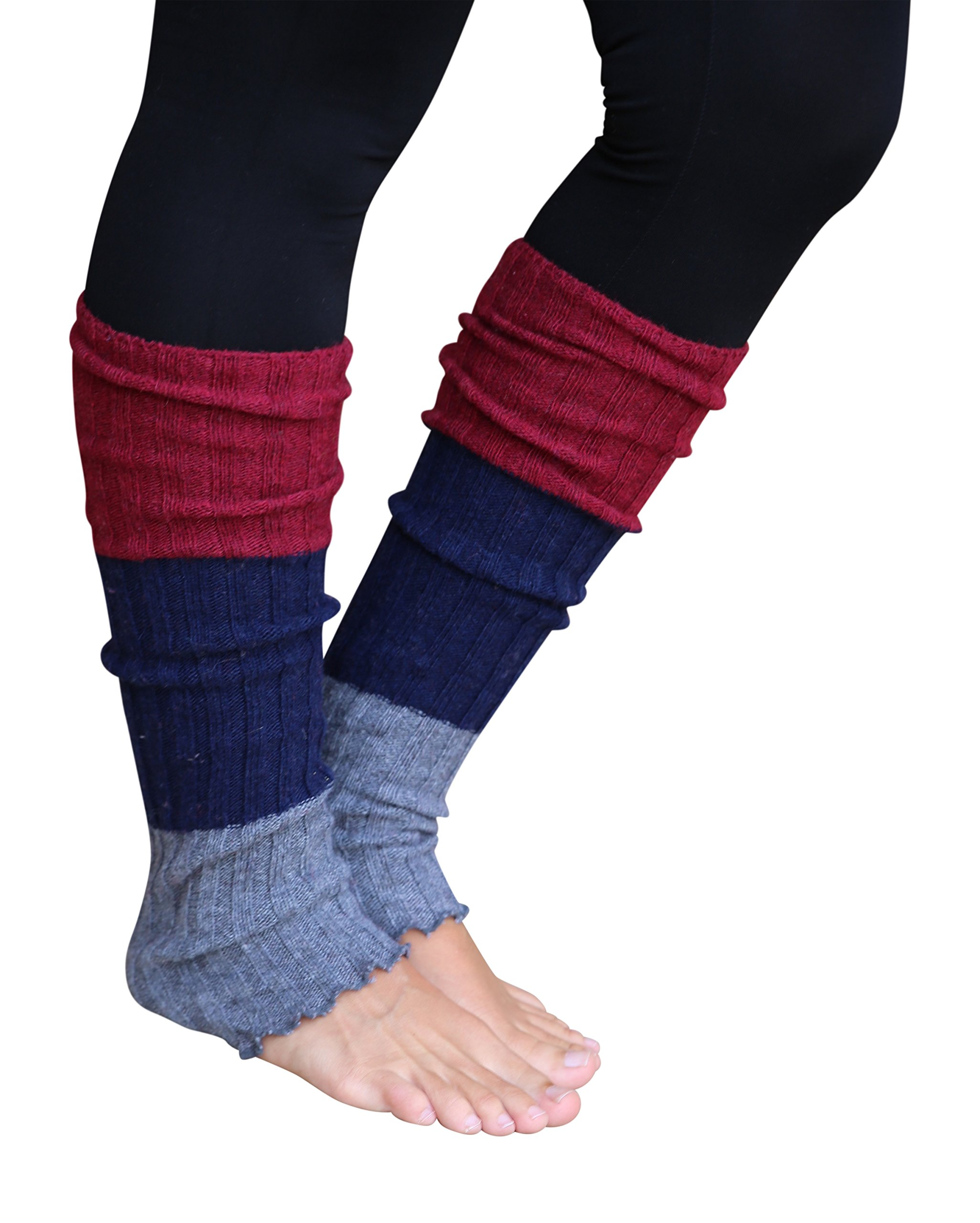 Lucky Love (TM) Striped Multicolor Reversible Knit Leg Warmers