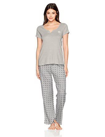 d76b3e01 Tommy Hilfiger Women's Short Sleeve Top and Pant Bottom Pajama Set Pj,  Heather Gray/