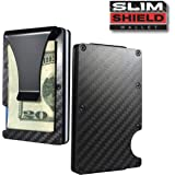 Slim Shield Wallet- Carbon Fiber & Aluminum, Lightweight Money Clip Wallet Holds Up to 12 Cards and Cash, RFID Blocking Technology, Fits in Front Pocket