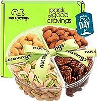 Fathers Day Gourmet Nut Gift Basket + Green Ribbon (4 Piece Assortment) - Prime Arrangement Platter, Birthday Care…