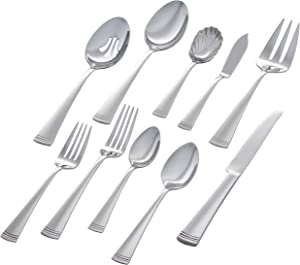 Stone & Beam Traditional Stainless Steel Flatware Silverware Set, Service for 8, 45-Piece, Silver with Dotted Trim