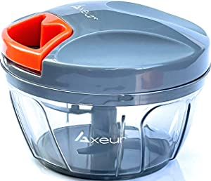 Axeur Premium Quality Manual Food Chopper & Blender with Storage Lid | Hand Held Food Processor | Chops, Vegetables, Garlic, Onion, Nuts and Fruits | Meat Mincer | Puree Maker | Capacity 400ml