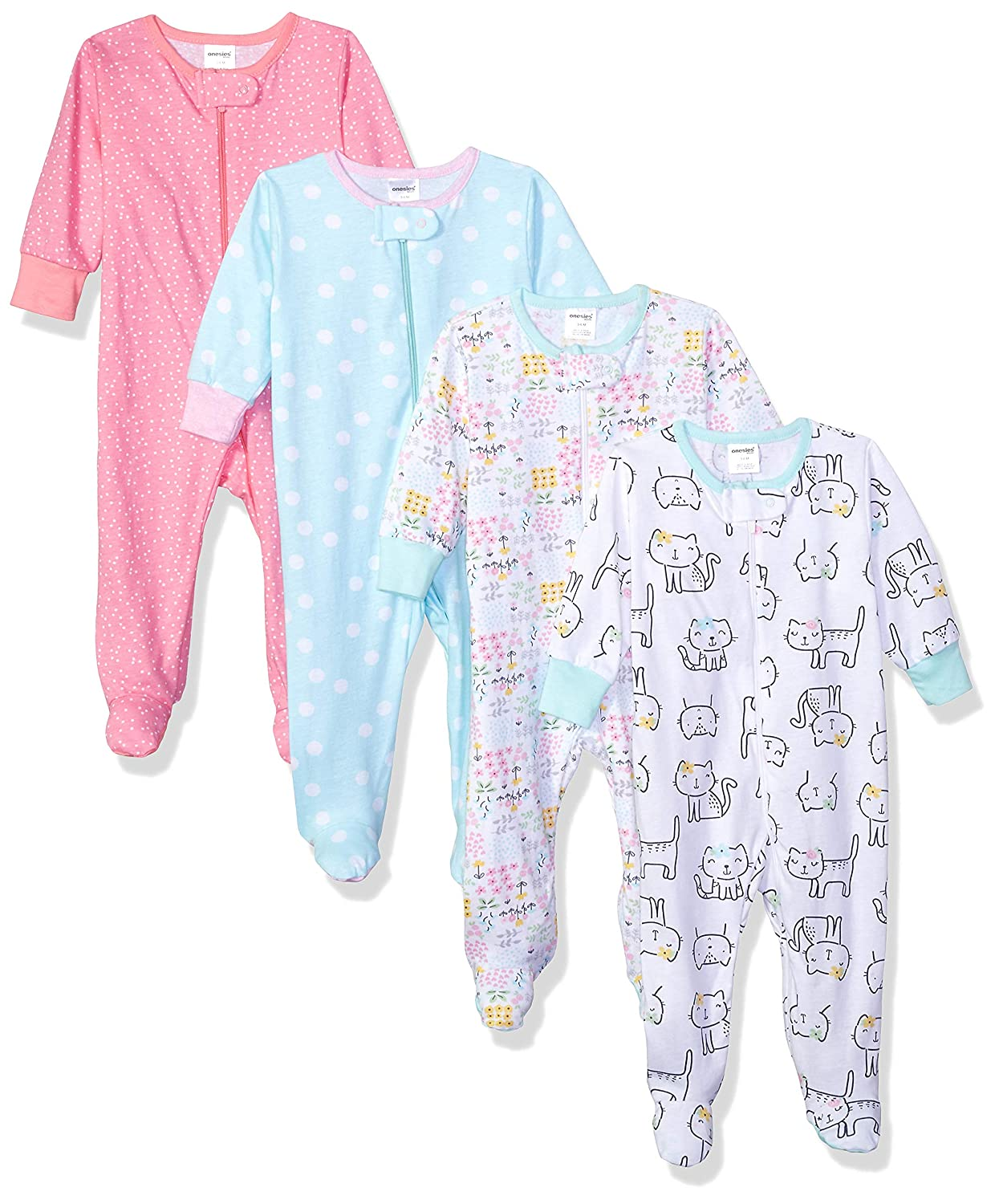 Onesies Brand Baby Girls' 4-Pack Sleep 'N Play Gerber Children' s Apparel