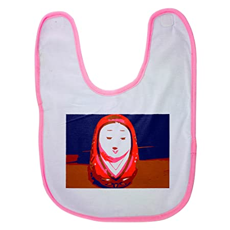 Pink Baby Bib With The image of hime daruma   hime daruma is