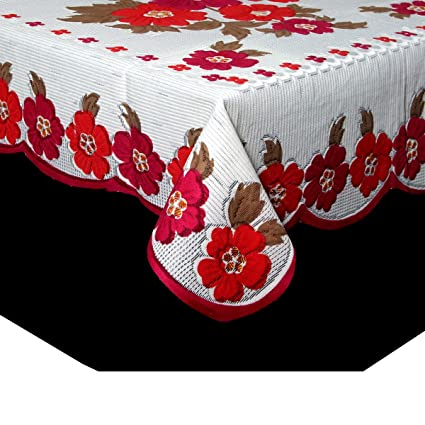 5144bb73dae Buy Kuber IndustriesTM Center Table Cover White Cloth Net for 4 Seater 40   60  Inches (Pink Flower Design) Code-CTC03 Online at Low Prices in India ...